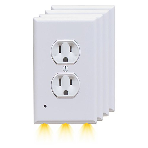 LED Wall Outlet Panel?Outlet Wall Plate with LED Night Light | Instant Installation Duplex Nightlight Wall Socket | No Wiring/Batteries Needed(4-Pack)