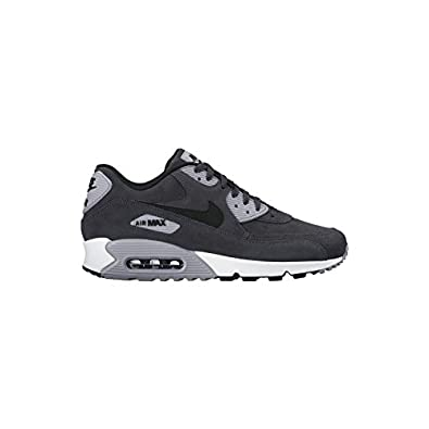 Nike Air Max 90 Ltr Leather Anthracite Black Wolf Grey White 652980 012 Men's Sport Running Shoes Sneakers