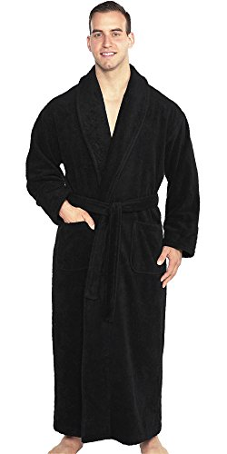 TurkishTowels Mens and Womens Original Terry Shawl Turkish Bathrobe-M, Black (Shawl Cloth Terry)