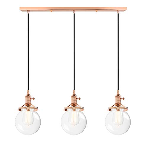 Phansthy 3 Light Kitchen Island Light Fixture Copper Finished Modern Chandelier with 5.9 Inches Globe Light Shade