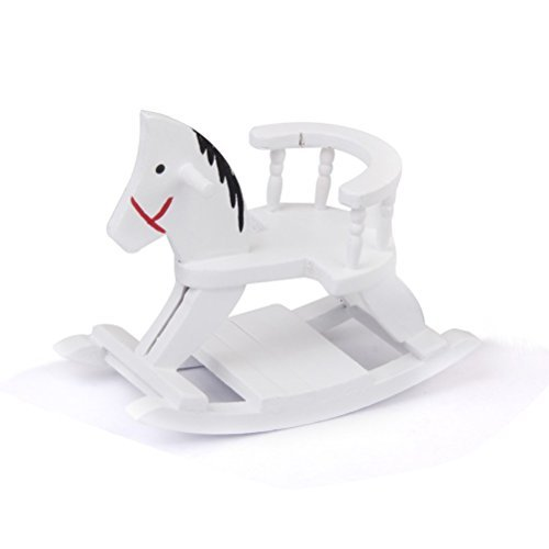 ULTNICE 1:12 Wooden Miniature Doll Rocking Horse for Furniture Decoration White (Horse Rocking Accessories)