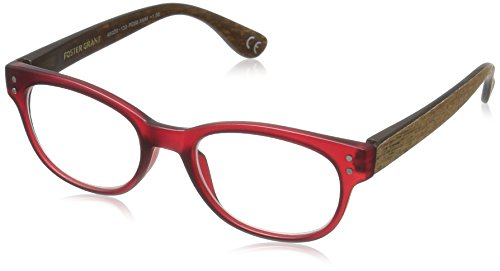 Rosemary Womens - Foster Grant Women's Rosemary 1017556-150.COM Round Reading Glasses, Wine, 1.5
