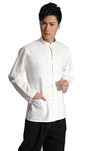 ZooBoo Traditional Long Sleeve Tang Kung Fu Uniform Men's Shirt (White, XXL) -