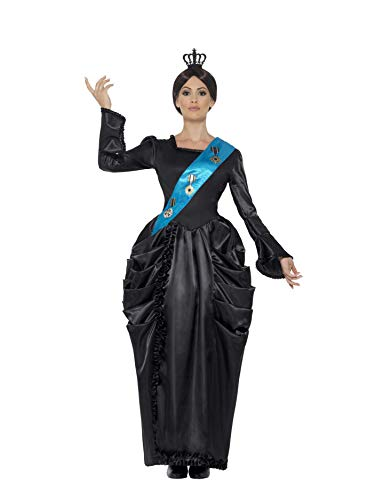 Smiffy's Women's Queen Victoria Deluxe Costume, Dress, Attached Sash and Headpiece, Tales of Old England, Serious Fun, Size 6-8, 43429