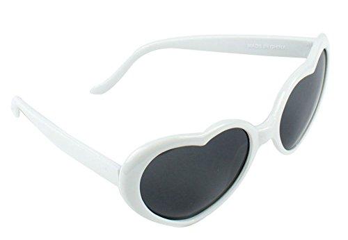 forme Lunettes Lunettes coeur soleil de Nouveaux Lolita Blanc de mode q8wvnP