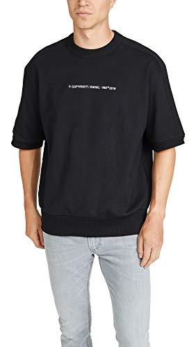 Diesel Men's Copy Short Sleeve Sweatshirt, Black, - Embroidered Diesel Sweater