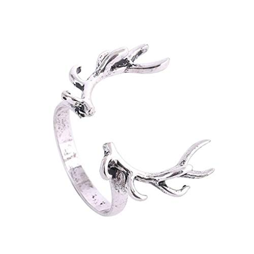 Xuanhemen Retro Unclosed Stylish Deer Horn Design Bright Ring Antler Shape Branch Decoration for Men and Women -