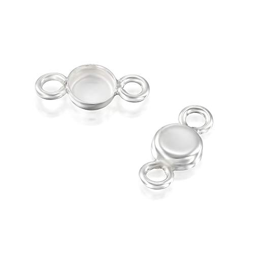 6 Pcs 4mm Round Setting with 2 Loops 925 Sterling Silver Bezel Cup Findings for Pendants Bracelets Earrings ()
