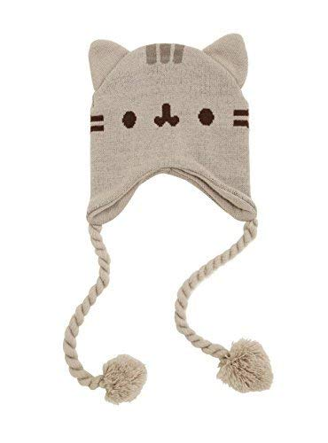 Knitting Hat Earflap Pattern - Pusheen Cat Face Ears Beanie - Pusheen the Cat Beanie Hat - Grey with Tassels