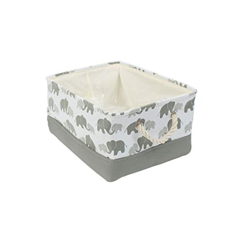 uxcell Small Storage Basket Bins for Toy Organizer,Collapsible Laundry Basket with Drawstring Closure for Clothes Closet Shelves, Small - 12.2 inches x 8.3 inches x 5.1 inches, Grey Elephant