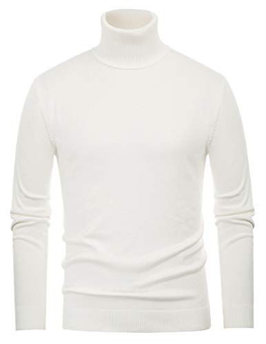 PAUL JONES Men's Slim Fit Ribbed Edge Turtleneck Pullover Sweaters 2XL White