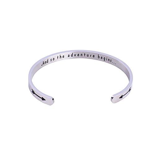 NIYOKKI Graduation Gifts Cuff Bracelet And So the Adventure Begins (Silver)