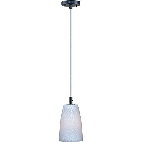 - ET2 E92041-13BZ Carte 1-Light Single Pendant, Bronze Finish, White Ripple Glass, MB Incandescent Bulb, 40W Max., Dry Safety Rated, Glass Shade Material, 750 Rated Lumens
