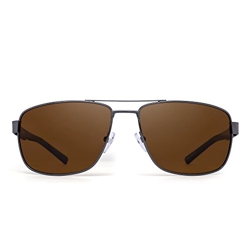 Polarized Driving Aviator Sunglasses Metal Frame Square Lenses Glasses Men Women (Silver Frame Black Temple/Polarized Brown)