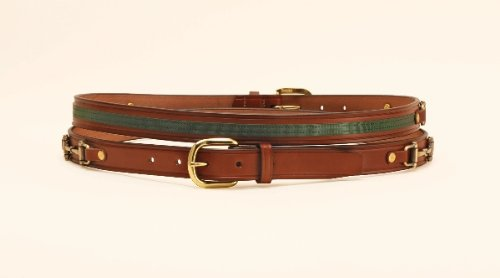 Sewn Simulated Leather (Tory Leather Oakbark with Green Ribbon and Snaffle Bits - Oakbark/Green, 34)