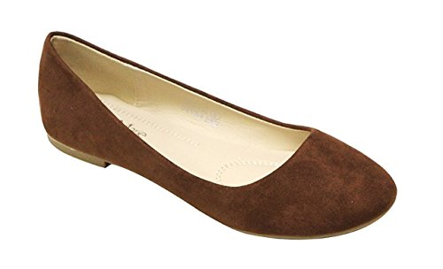 Flat Shoe Brown Sport (Bella Marie Stacy-12 Women's Round Toe Suede Leather Slip on Boat Ballet Flat Shoes Chest 8)
