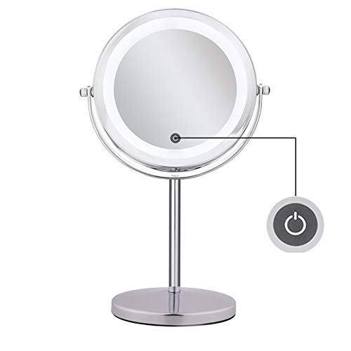 Mirror Double Sided 10X Magnifying Glass Rotating Mirror Light Touch Dimming Dressing Table Natural Light Round Stainless Steel Polished Chrome 4 AAA Battery Powered 17 33CM Chrome Hollywood Four Light