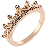 Wedding Band Rose Gold Women Rings Queen Crown Princess (6)