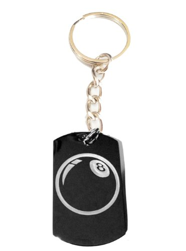 8 Ball Pool Billiards Logo Symbols - Metal Ring Key Chain Keychain ()