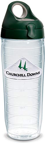 Tervis 1320933 Kentucky Derby 2019 Churchill Downs Insulated Travel Tumbler with Emblem and Hunter Green with Gray Lid, 24oz Water Bottle - Tritan, Clear