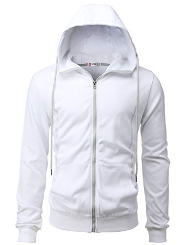 H2H Mens Casual Zip-up Hoodie Double Cotton Lightweight Hooded White US S/Asia M (CMOHOL062)