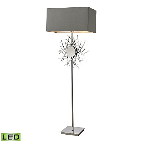 - Elk Lighting D2680-LED Cesano Abstract Formed Metalwork LED Floor Lamp in Polished Nickel
