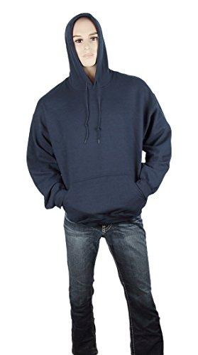 Gildan Adult 8 Oz Heavy Blend Pullover Hoodie Hooded Sweatshirt Navy S + Beanie Bundle