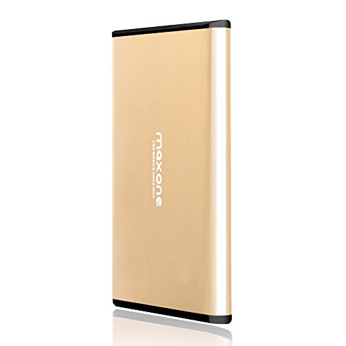 500GB Portable External Hard Drive - Maxone Ultra Thin External HDD USB 3.0 for PC, Mac, Laptop, PS4, Xbox one and Smart TV - Gold