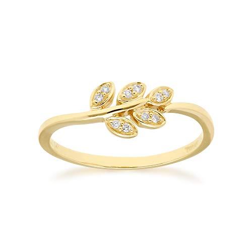 - Gemondo USA 14K Gold Diamond Leaf Ring
