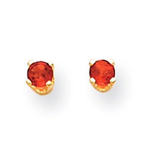 14 carats Grenat pour Enfant-Boucles d'oreilles 3 mm-Dimensions :  4 x 4 mm JewelryWeb -