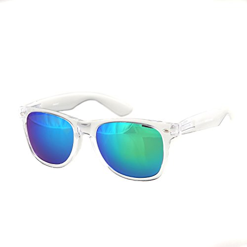 Shaderz Sunglasses Classic Clear Frame Retro 80's ReflectiveMirror Blue Olivine ()