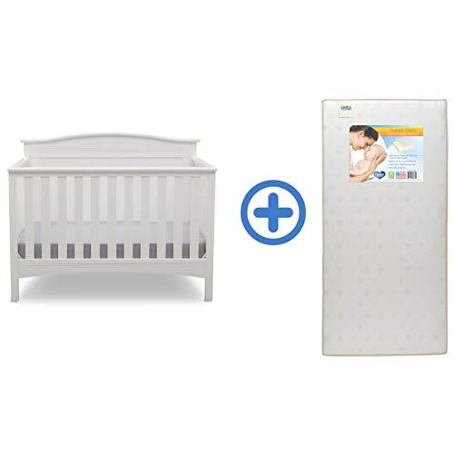Delta Children Bennett 4-in-1 Convertible Baby Crib & Twinkle Stars Waterproof Fiber Core Crib and Toddler Mattress, Bianca White