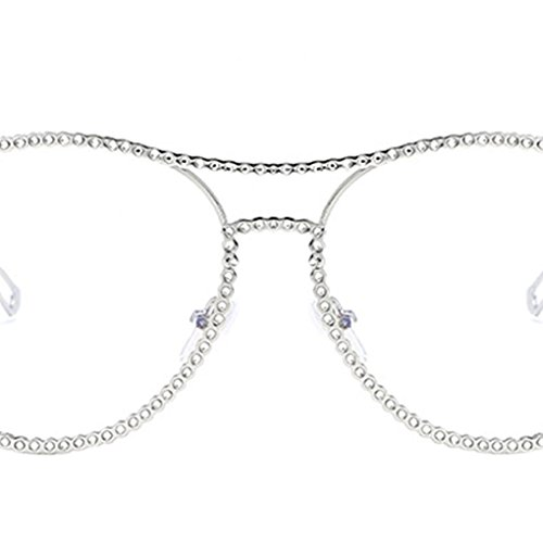 PC Marco de Y al anteojos Rhinestone Plata Simples libre Girl lente aire Republe Protección de de forma Women gafas Eyewear UV400 redonda sol Decor Lentes gafas llanura OqaS10w