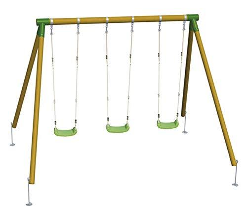 | MASGAMES | Columpio de madera triple ETNA | con asientos planos de plástico y cuerdas regulables | madera tratada…