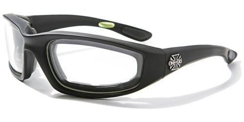 Choppers Mens Biker Padded Motorcycle Goggles Glasses - Several Lens Colors Available! (Black - Clear (Padded Glasses)