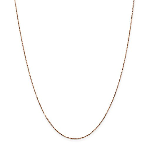 14k Rose Gold .8mm Link Cable Chain Necklace 30 Inch Pendant Charm Round Fine Jewelry Gifts For Women For Her ()