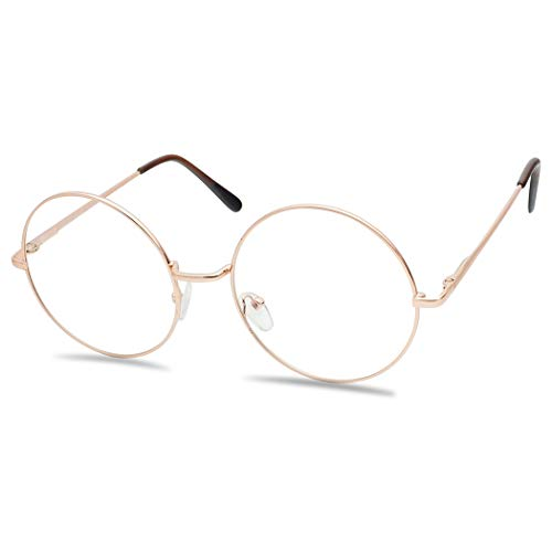 Round Double Metal Wire No Prescription Oversized Sunglasses Clear Lens Gold Circle Frame Glasses (Rose Gold, Clear) -
