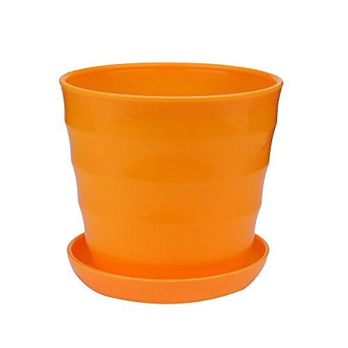 Fan-Ling Colourful Mini Plastic Flower Seedlings Nursery Pot/Planter/Flower Pot with Pallet ,Succulent Plant Flowerpot Home Office Decor (Orange)