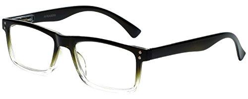 M Readers Designer Reading Glasses 104-SGNGT-300 in Black Olive Fade 53mm