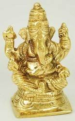 """Ganesh Sitting Brass 3"""""""