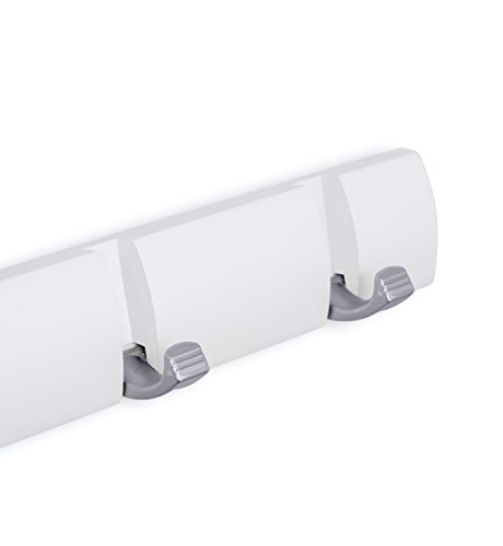 Wall Mounted Flip Hooks | 6 Folding Coat and Hat Rack Hooks | Satin Nickel Hooks | White Rail Photo #4