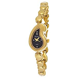 Stylo Women's Black Dial Yellow Gold Plated Band Watch