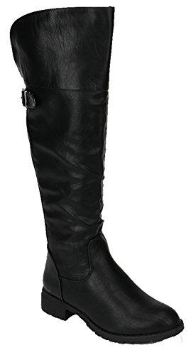 Nature Breeze Sarah 01 Womens Knee High Round Toe Riding Boots BLACK 8.5