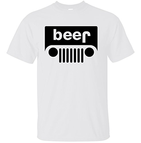 Beer Funny White T-shirt - YM Wear Beer Funny Drinking T Shirt (Small, White)