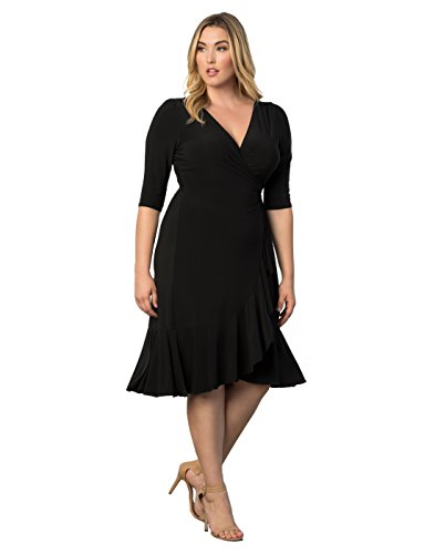 [Kiyonna Women's Plus Size Whimsy Wrap Dress 1X Black Noir] (Plus Size Evening Wear)