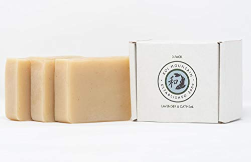 Lavender Oatmeal Soap Gift Set for Men and Women. All Natural, Chemical-Free, Vegan Soap with Therapeutic Grade Essential Oil, Organic Oatmeal, Skin-Loving Shea Butter. Set of 3 Bars in Gift Box. ()