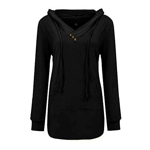 URIBAKE Women Hooded Blouse Button V- Neck Kangaroo Pocket Lightweight Tunic Pullover Hoodie -