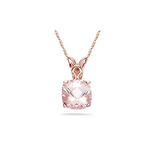 - 2.50 Cts of 9 mm AAA Cushion Checker Board Morganite Solitaire Scroll Pendant in 14K Pink Gold