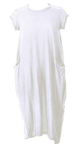 New Plus Size WOMEN Italian Lagenlook Quirky Long Boho Pocket Cotton Tunic Dress