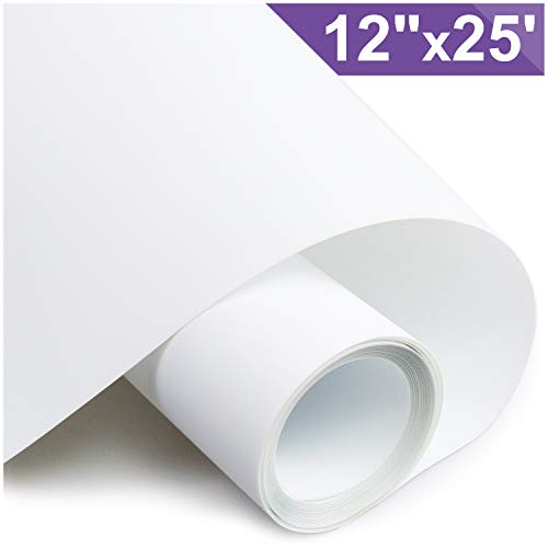 ARHIKY Heat Transfer Vinyl HTV for T-Shirts 12Inches by 25 Feet Rolls(White) (Transfer T-shirt Peel)